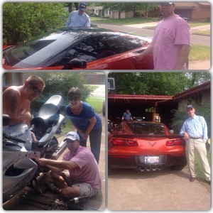 Mike stops working on motorcycle to give his Dad and I a ride in his corvette.